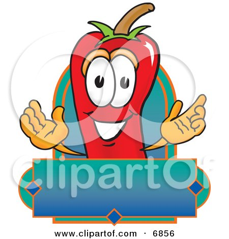 Chili Pepper Mascot Cartoon Character With a Blank Label Posters, Art Prints