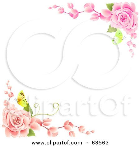 Royalty-Free (RF) Clipart Illustration of a White Background With Corners Of Pink Roses And Butterflies by MacX