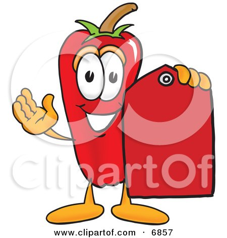 Chili Pepper Mascot Cartoon Character Holding a Red Price Tag Posters, Art Prints