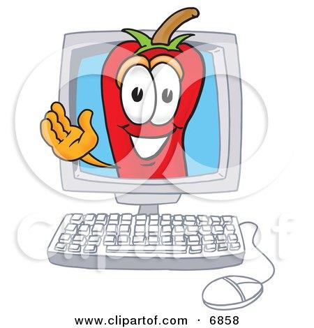 Chili Pepper Mascot Cartoon Character Waving in a Computer Screen Posters, Art Prints