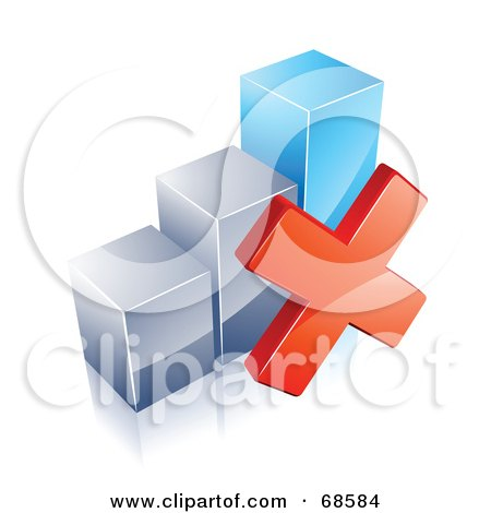 Royalty-Free (RF) Clipart Illustration of a 3d Chrome And Blue Bar Graph With A Red X Mark by beboy