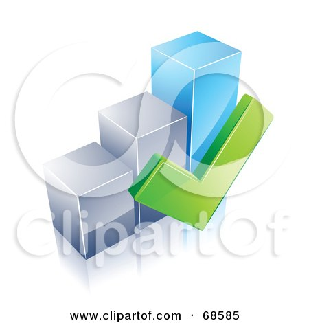 Royalty-Free (RF) Clipart Illustration of a 3d Chrome And Blue Bar Graph With A Green Check Mark by beboy