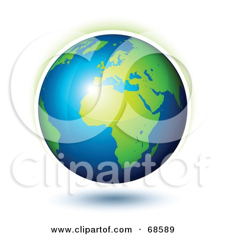 Royalty-Free (RF) Clipart Illustration of a 3d Shiny Earth With A Faint Aura by beboy