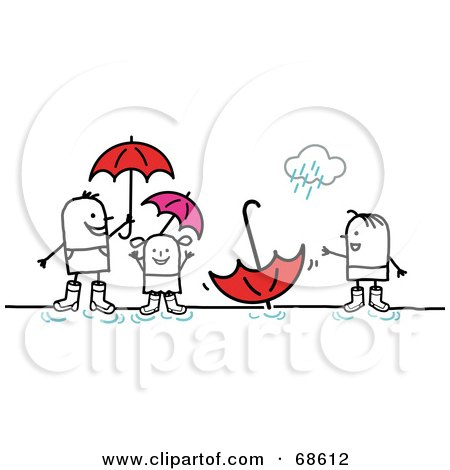 Royalty-Free (RF) Clipart Illustration of a Stick People Character Family Playing In Puddles by NL shop