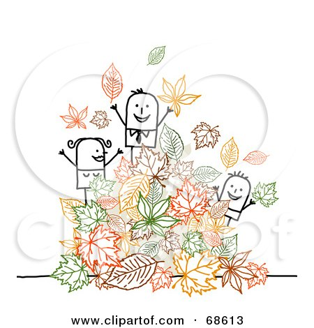 Royalty-Free (RF) Clipart Illustration of a Stick People Character Family Playing In Autumn Leaves by NL shop