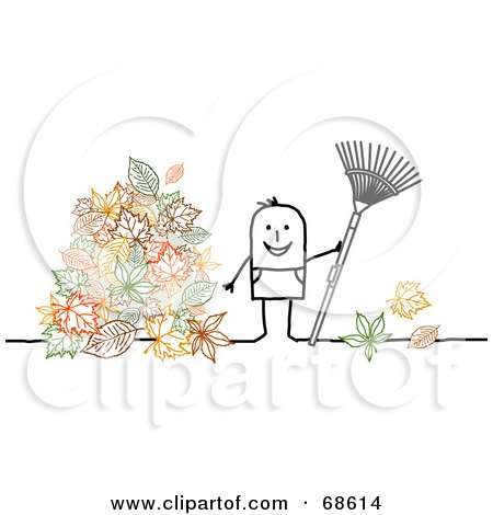 Royalty-Free (RF) Clipart Illustration of a Stick People Character Man Raking Up Leaves In His Yard by NL shop