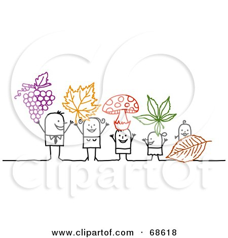 Royalty-Free (RF) Clipart Illustration of a Stick People Character Family Holding Grapes, Leaves And Mushrooms by NL shop