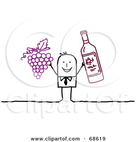 Stick People Character Man Holding Up Grapes And Wine Posters, Art Prints