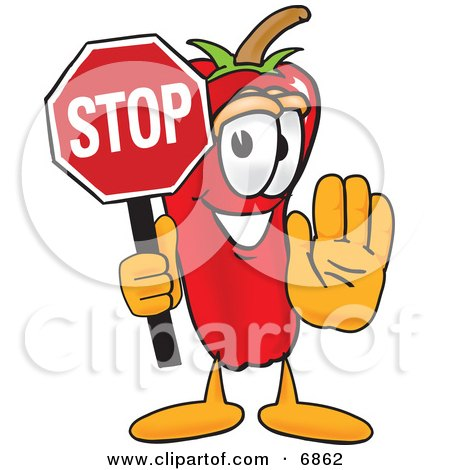 Chili Pepper Mascot Cartoon Character Holding a Stop Sign Posters, Art Prints