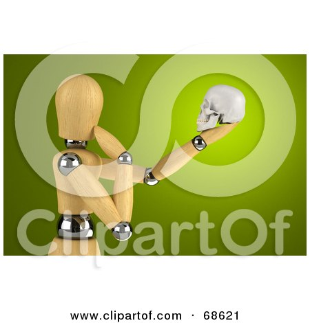 Royalty-Free (RF) Clipart Illustration of a 3d Wood Mannequin Observing A Human Skull by stockillustrations
