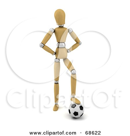 Royalty-Free (RF) Clipart Illustration of a 3d Wood Mannequin Resting His Foot On A Soccer Ball by stockillustrations
