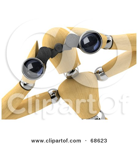 Royalty-Free (RF) Clipart Illustration of a 3d Wood Mannequin Spying Through Binoculars by stockillustrations