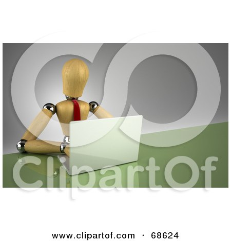 Royalty-Free (RF) Clipart Illustration of a 3d Wood Mannequin Professional Businessman Using A Laptop by stockillustrations