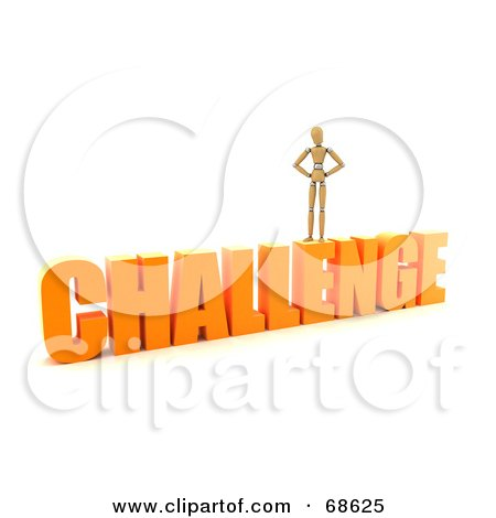 Royalty-Free (RF) Clipart Illustration of a 3d Wood Mannequin Standing On Top Of A Challenge by stockillustrations