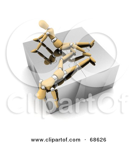 Royalty-Free (RF) Clipart Illustration of Two Exhausted 3d Wood Mannequins On Top Of A Complete Puzzle by stockillustrations