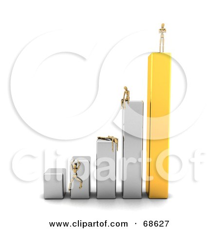 Royalty-Free (RF) Clipart Illustration of a 3d Wood Mannequin Standing On A Bar Graph, People Failing Below by stockillustrations