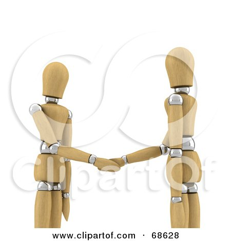 Royalty-Free (RF) Clipart Illustration of 3d Wood Mannequins Shaking Hands by stockillustrations