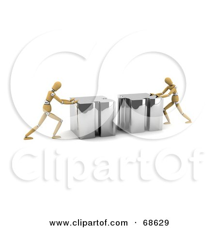 Royalty-Free (RF) Clipart Illustration of Two 3d Wood Mannequins Linking Puzzle Pieces - Version 3 by stockillustrations