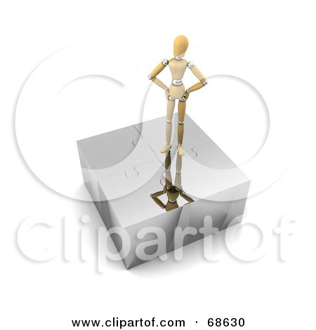 Royalty-Free (RF) Clipart Illustration of a 3d Wood Mannequin Standing On Top Of A Complete Puzzle by stockillustrations