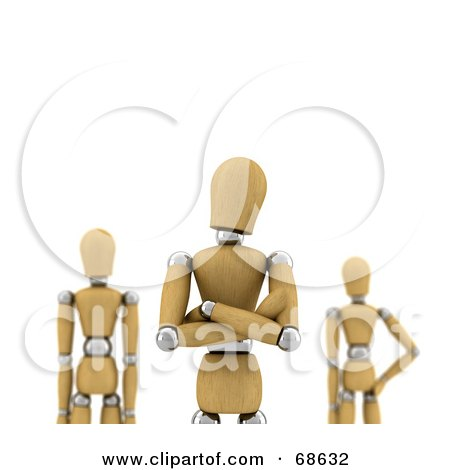 Royalty-Free (RF) Clipart Illustration of a 3d Wood Mannequin Leader With Team Mates by stockillustrations