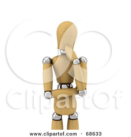 Royalty-Free (RF) Clipart Illustration of a Pondering 3d Wood Mannequin by stockillustrations