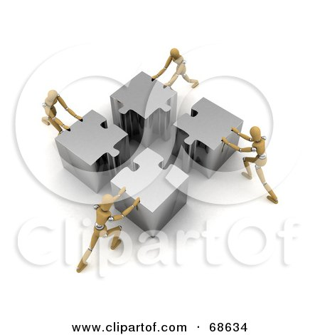 Royalty-Free (RF) Clipart Illustration of a Team Of Four 3d Wood Mannequins Assembling A Big Puzzle by stockillustrations
