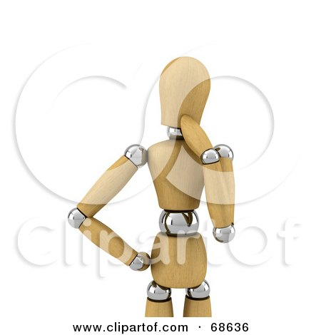 Royalty-Free (RF) Clipart Illustration of a Contemplating 3d Wood Mannequin by stockillustrations