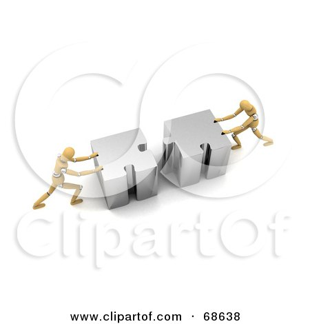 Royalty-Free (RF) Clipart Illustration of Two 3d Wood Mannequins Linking Puzzle Pieces - Version 1 by stockillustrations