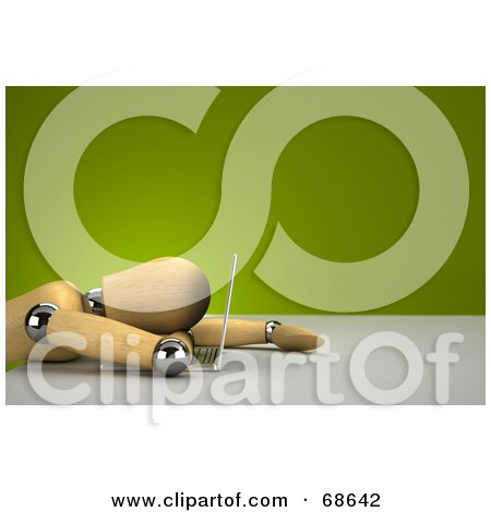 Royalty-Free (RF) Clipart Illustration of a 3d Wood Mannequin Collapsed On A Laptop by stockillustrations
