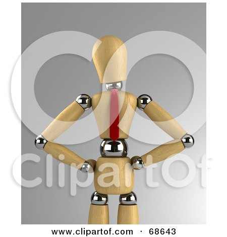 Royalty-Free (RF) Clipart Illustration of a 3d Wood Mannequin Corporate Business Man Wearing A Tie And Standing With His Hands On His Hips by stockillustrations