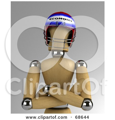 Royalty-Free (RF) Clipart Illustration of a 3d Wood Mannequin Wearing an Economy Helmet by stockillustrations