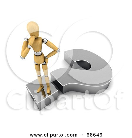 Royalty-Free (RF) Clipart Illustration of a Confused 3d Wood Mannequin Standing On A Question Mark by stockillustrations