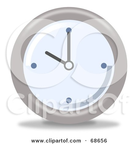 Royalty-Free (RF) Clipart Illustration of a Pale Blue And Gray Wall Clock At 10 by oboy