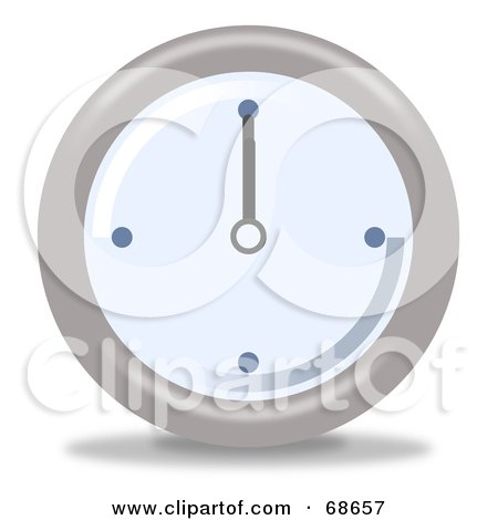Royalty-Free (RF) Clipart Illustration of a Pale Blue And Gray Wall Clock At 12 by oboy