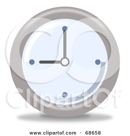 Royalty-Free (RF) Clipart Illustration of a Pale Blue And Gray Wall Clock At 9 by oboy