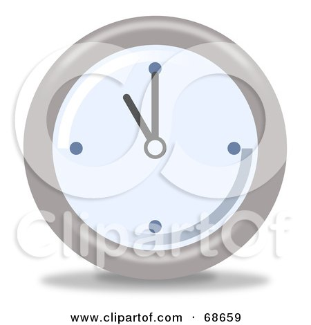 Royalty-Free (RF) Clipart Illustration of a Pale Blue And Gray Wall Clock At 11 by oboy
