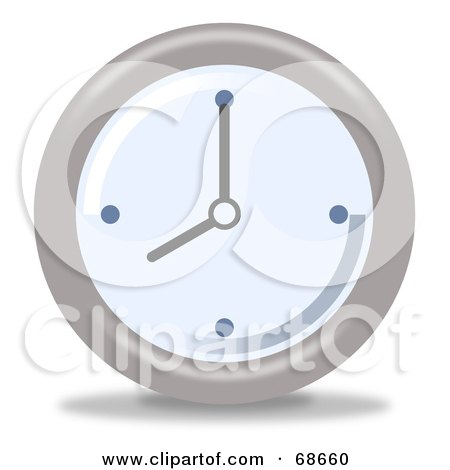Royalty-Free (RF) Clipart Illustration of a Pale Blue And Gray Wall Clock At 8 by oboy
