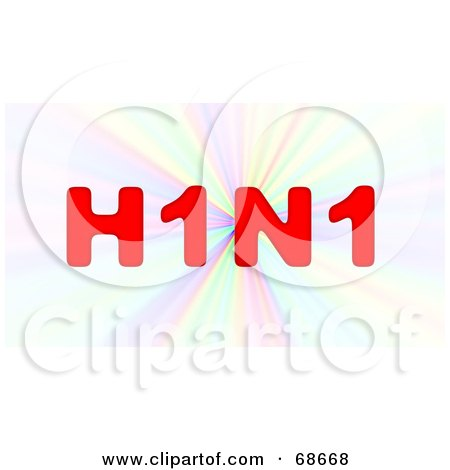 Royalty-Free (RF) Clipart Illustration of a Red H1N1 on a Colorful Burst by oboy