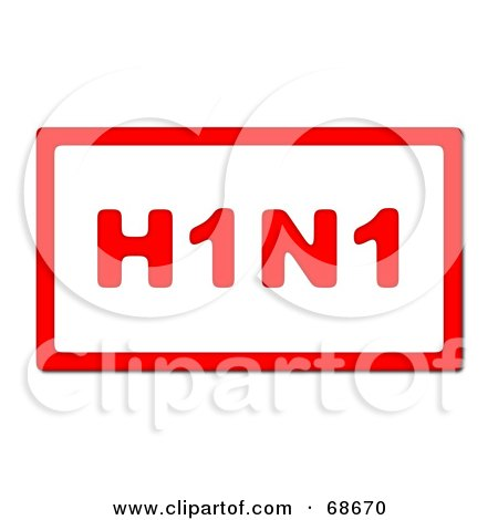 Royalty-Free (RF) Clipart Illustration of a Red H1N1 With A Red Border On White - Version 2 by oboy