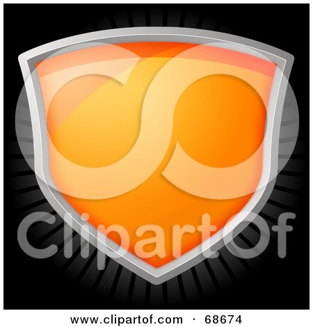 Royalty-Free (RF) Clipart Illustration of a Shiny Orange Shield Over A Black Background by oboy