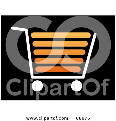 Royalty-Free (RF) Clipart Illustration of a White And Orange Shopping Cart On Black by oboy