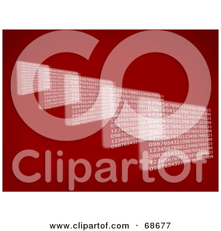 Royalty-Free (RF) Clipart Illustration of a Red Binary Screen Background by oboy