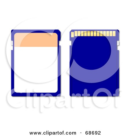Royalty-Free (RF) Clipart Illustration of a Blue Memory Chip - Version 1 by oboy