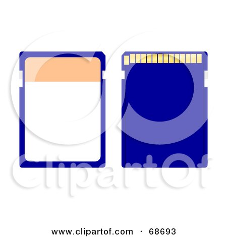Royalty-Free (RF) Clipart Illustration of a Blue Memory Chip - Version 2 by oboy