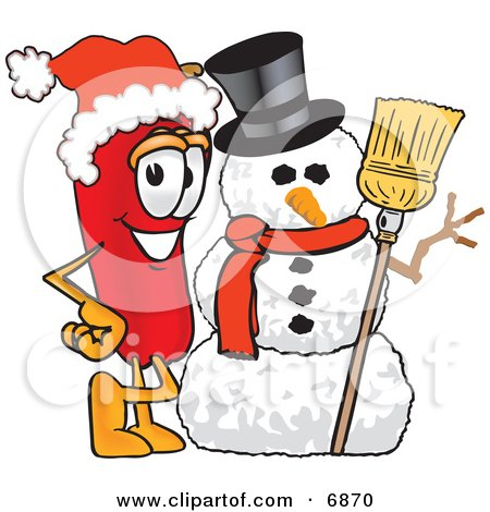 Chili Pepper Mascot Cartoon Character With a Snowman on Christmas Posters, Art Prints