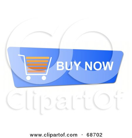 Royalty-Free (RF) Clipart Illustration of a Blue Buy Now Shopping Cart Button On White by oboy
