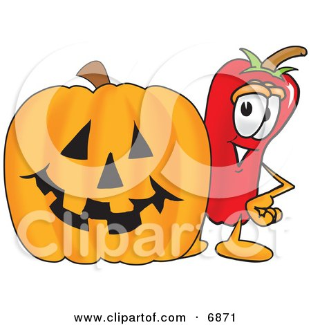 Chili Pepper Mascot Cartoon Character Standing With a Carved Halloween Pumpkin Posters, Art Prints
