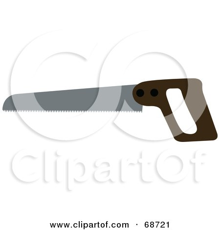 Royalty-Free (RF) Clipart Illustration of a Wooden Handled Saw by JR