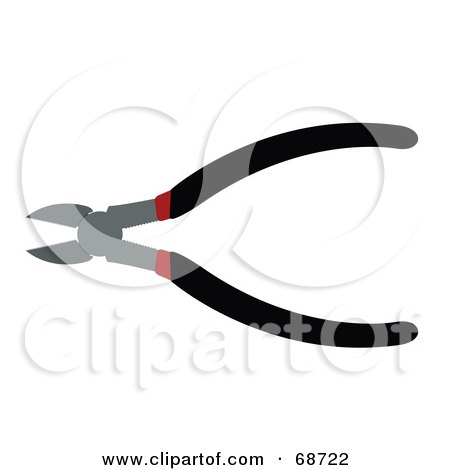 Royalty-Free (RF) Clipart Illustration of a Pair of Black and Red Pliers by JR