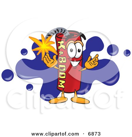 Clipart Picture of a Red Dynamite Mascot Cartoon Character With a Blue Paint Splatter by Toons4Biz